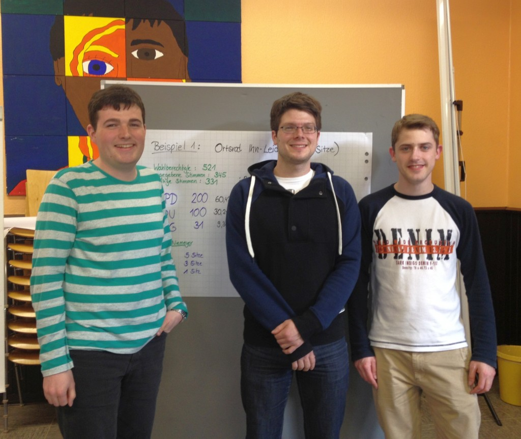 Drei der Teilnehmer*innen vom Seminar:Joshua Pawlak, Stephan Marx und MichellDittgen (v.l.n.r.)