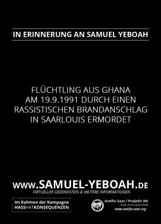 Virtueller Gedenkstein für Samuel Yeboah